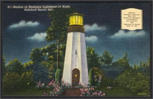 Rehoboth Beach DE Cape Henlopen Lighthouse Replica 1940s Linen Postcard