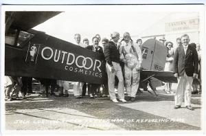 Pilots Refueling Plane Outdoor Cosmetics Stanavo Oil Real Photo RPPC Postcard