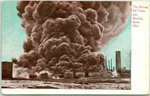 Bowling Green, Ohio Postcard The Burning Oil Tanks Thomas & Co. 1910 Cancel