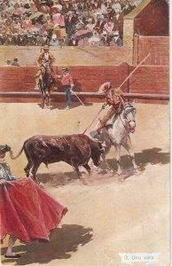 Bullfighting. Horse and Bull. Una Vara Old vintage postcard