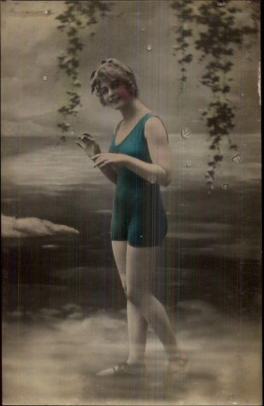 Bathing Beauty in Blue Suit c1915 Tinted Real Photo Postcard