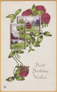 Vintage Birthday-Best Birthday Wishes Red Flowers, pastoral scene