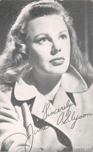 June Allyson Non Postcard Backing Unused