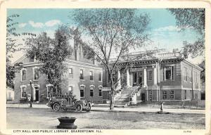 Beardstown Illinois~City Hall & Public Library~Vintage Fire Truck~1920s Blue Sky