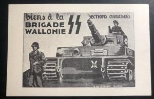 Mint WW 2 Germany Waffen SS Postcard Brigade Wallonie Entry To Bruxelles