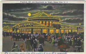 1932 Playland, 6th & Boardwalk by Night, Ocean City, NJ Postcard