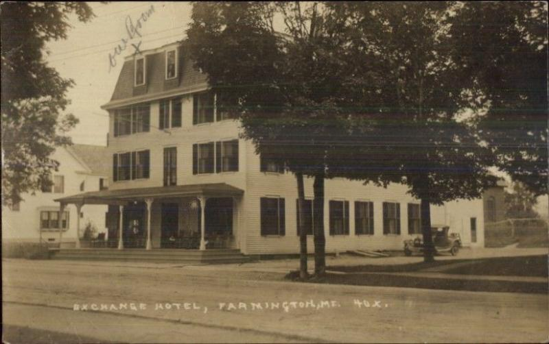Farmington Me Exchange Hotel C1920s Real Photo Postcard