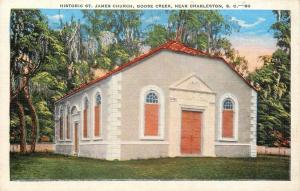 Goose Creek South Carolina~St. James Church~1940s Postcard