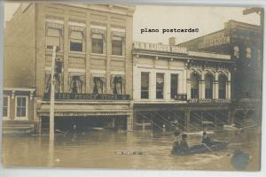 MARIETTA, OHIO ON FRONT STREET DURING 1908 FLOOD REAL PHOTO POSTCARD
