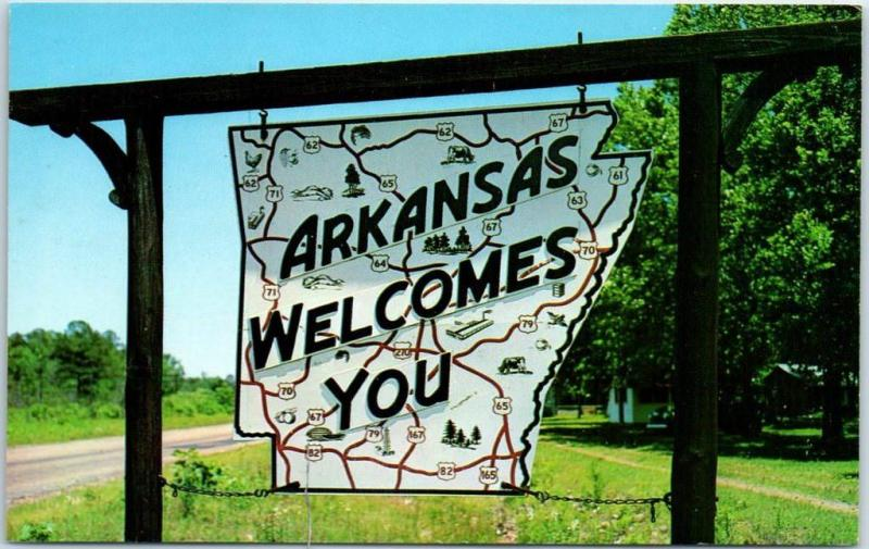 Vintage ARKANSAS WELCOMES YOU Postcard Highway Road Sign c1960s Unused