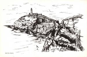 Postcard Art Sketch South Stack Lighthouse, Holyhead, Anglesey, North Wales B20