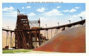 Vintage USA Postcard, Iron Ore Mining Iron Mountain, Michigan, United States 36Z