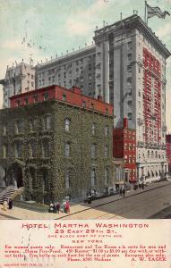 Hotel Martha Washington, 29 E. 29th St., New York, N.Y., Early Postcard, Used