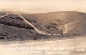 OLD OREGON TRAIL OR~EMIGRANT HILL IN THE BLUE MOUNTAIN~REAL PHOTO POSTCARD 1940s