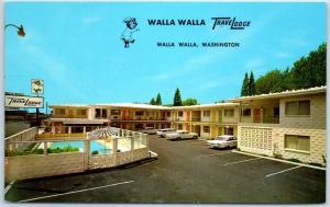 Walla Walla, Washington Postcard TRAVELODGE MOTEL Street View Roadside c1960s