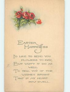 1923 Easter RED FLOWERS AND GREETING o5778