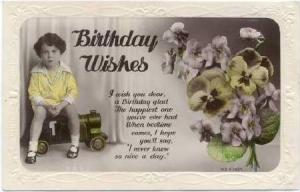 RP, Little Girl Sitting Down On A Toy Car, Flowers, Birthday Wishes, 1920-40s