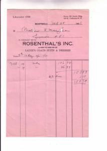 Invoice, Rosenthal's High Grade Ladies Coats Suits, Dresses, Montreal, Quebec