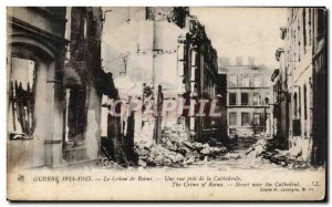 Old Postcard Militaria Reims Crime A street near the cathedral