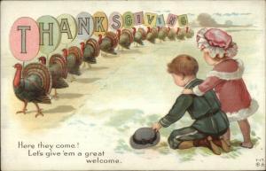 Thanksgiving - Turkeys Carry Paper Letters Children T-17 Nash? Postcard
