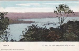 Illinois Peoria Birds Eye View Of Upper Free Bridge At Narrows 1908 Curteich