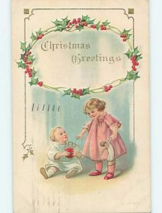 Pre-Linen christmas GIRL WITH DOLL AND LITTLE BROTHER WITH BALL hk9935