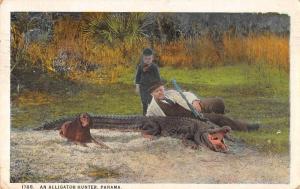 Panama Alligator Hunter with Dog Antique Postcard J72427