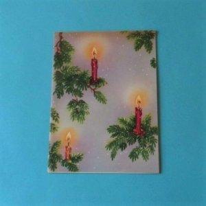 Vtg Used 1940's Christmas Card JANES ART STUDIOS Embossed Pine Tree Candle #6