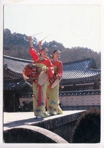 Traditional Korean drum dancers at Haein-sa Temple, Korea, 1985 used Postcard