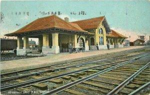 Mt Vernon Ohio B&O Station Woolson #7042 1909 Railroad Depot Postcard 21-9935