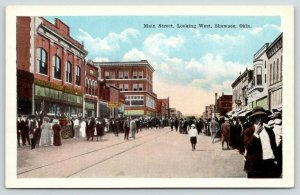 Shawnee Oklahoma~Main Street West~Large Crowd Downtown~1920s Postcard