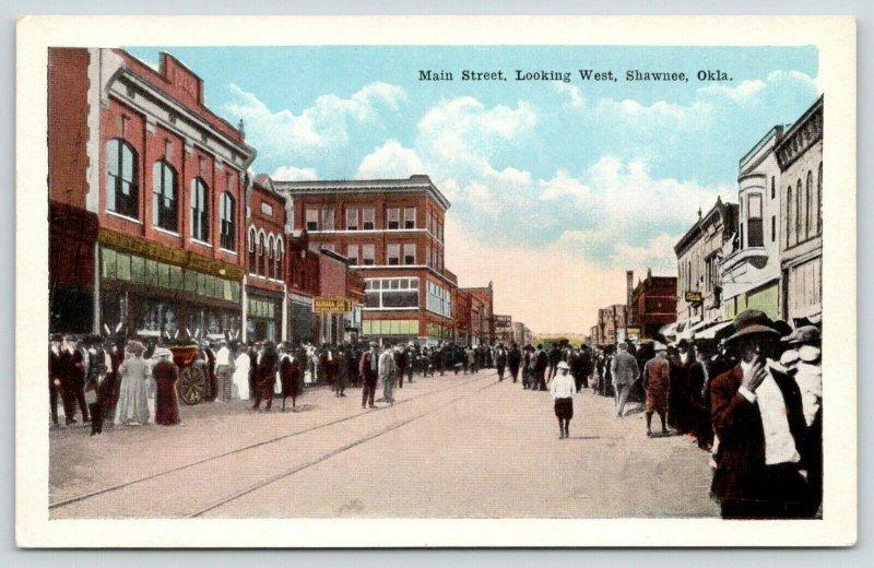 Shawnee Oklahoma~Main Street West~Large Crowd Downtown~1920s Postcard