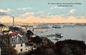 Fla. Jacksonville, St. John's River, showing Draw Bridge, factory, industry