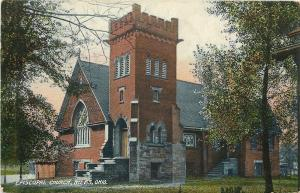 Niles Ohio~Lean-To Shed Next to Episcopal Church~Corner Battlement Tower 1909 pc