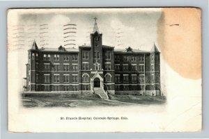 Colorado Springs CO, St Francis Hospital, Vintage Colorado c1907 Postcard