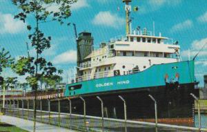 Cargo Freighter Ship GOLDEN HIND, Soo Locks , Sault Ste. Marie , Michigan ,...