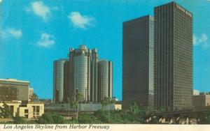 Los Angeles Skyline from Harbor Freeway, unused Postcard