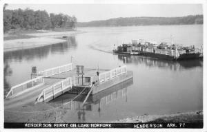 Henderson Arkansas~Henderson Ferry Loaded with Cars on Lake Norfork~1950s RPPC