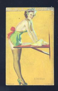 VINTAGE RISQUE PINUP GIRL IN THE DOUGH MUTOSCOPE CARD PRETTY WOMAN NUDE