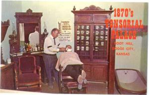 1870's Tonsorial Palace, Barber Shop, Boot Hill Dodge City Kansas, KS, Chrome