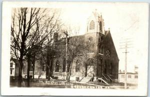 Grundy Center, Iowa RPPC Real Photo Postcard M.E. CHURCH Building View 1914