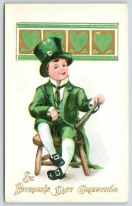 St Patrick's Day~Irish Boy Dressed Up in Green~Top Hat~Suit~Buckle Shoes~Gold