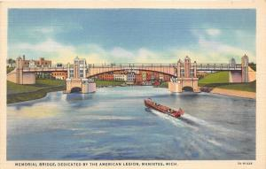 Manistee Michigan~Memorial Bridge (Dedicated by American Legion)~Speedboat~1933