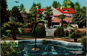 Beautiful Home In Summer CA Vintage postcard