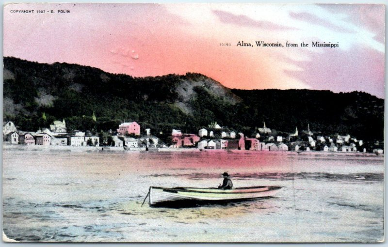 ALMA, Wisconsin Postcard Town View from the Mississippi Boat Scene 1908 Cancel