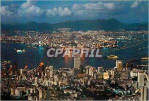 Postcard Modern Hong Kong Night Scene From Peak