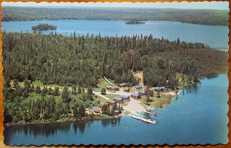 Parkview Camp Perrault Falls Ontario ON Cabins Aerial Vintage Postcard E14