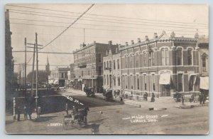 Lemars Iowa~Main Street @ 6th~Telephone Company~Basement Barber~Wagon~1908 RPPC