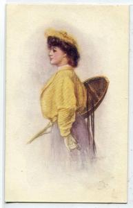 Snow Shoe Girl Beautiful Lady Winter Sports 1910c artist signed postcard