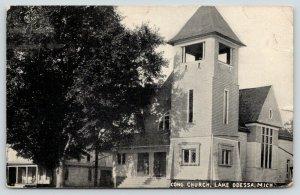 Lake Odessa Michigan~Congregational Church~Square Clock Tower~1912 Postcard